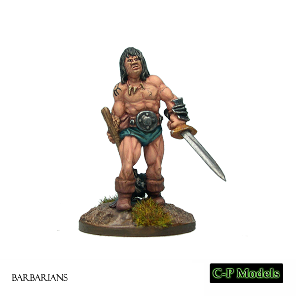 Barbarian with Sword & Spiked Mace 1