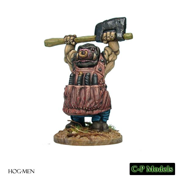 Hog-man with raised chopper