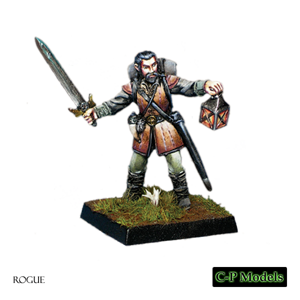 Male rogue warrior with sword and lamp