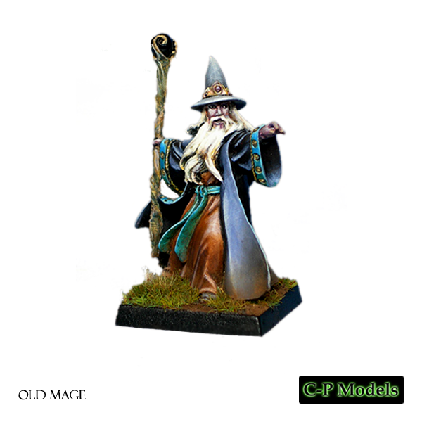 Old mage, magician with staff