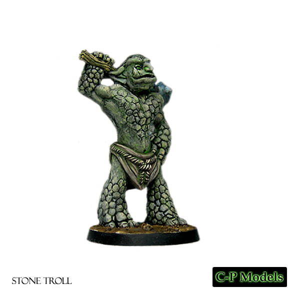 Stone troll with club over shoulder