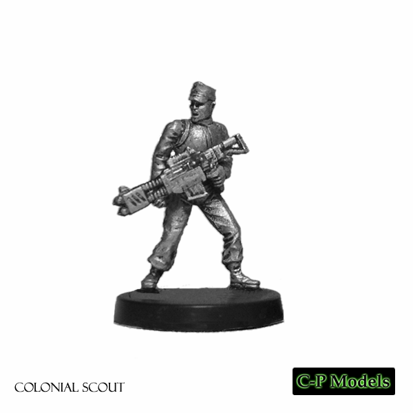 Colonial scout weapon held low
