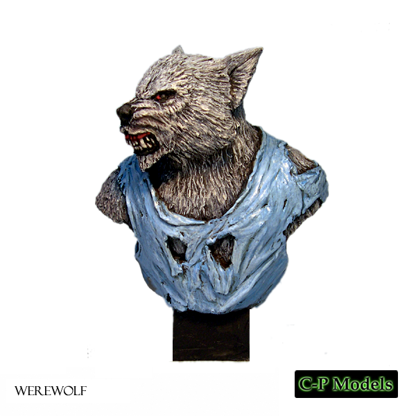 Painted Werewolf bust