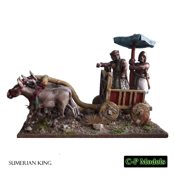 Sumerian king in battle car painted